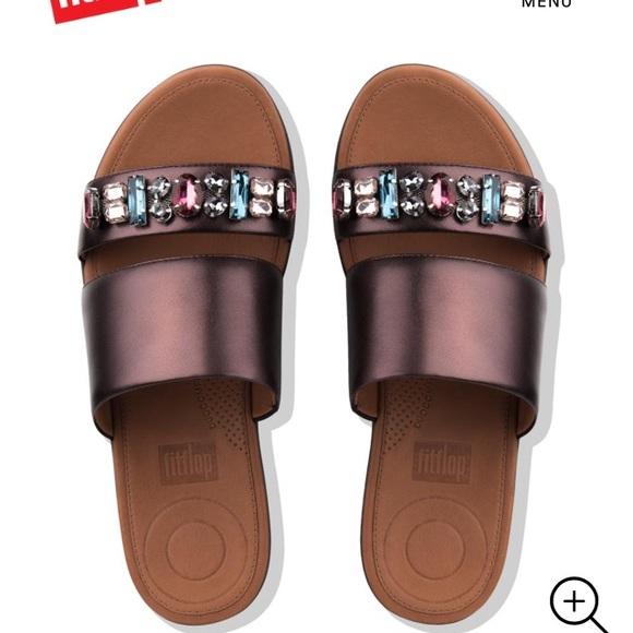 e8eca80c0fc7b Fitflop Delta Bejeweled Berry Slide Sandals Shoes